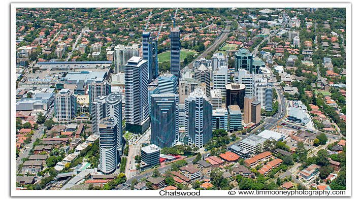Aerial Photo Chatswood CBD