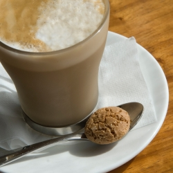 Flat white espresso Coffee and biscuit