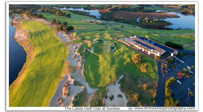 Sunrise photo aerial over The Lakes Golf Club,Sydney